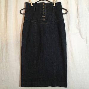 Betsey Johnson High Waist Midi Denim Skirt